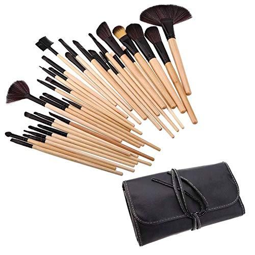 Ensemble de pinceaux à maquillage 32 pièces, pinceau à maquillage couleur bois et sac de voyage UP