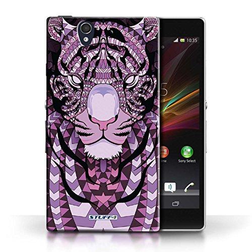 Etui / Coque pour Sony Xperia Z / Singe-Mono conception / Collection de Motif Animaux Aztec Tigre-Pourpre