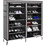 PAffy Steel and Fabric Multi-Purpose Shoe Rack with Cover, 12 Shelf, Multi-Color