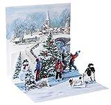 Pop Up 3D Weihnachten Karte PopShot Eislaufen im Winterdorf 13x13 cm