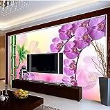 Fushoulu Individuell Bedruckte Tapete Bambus Schmetterling Orchidee Große Tv Hintergrund Wanddekoration Wandbild Vliestapete Papel-120X100Cm