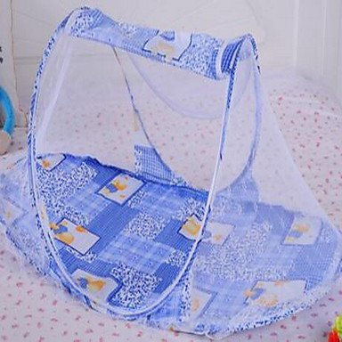 Blau Kind Krippe Kinderwagen Anti-Moskito Moskitonetz, Polyester Moskitonetz-Vorhänge, Baldachin für Betten, runder Insekten-Fliegengitter, Insektenschutz-Abwehrschild