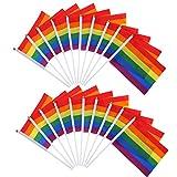 20 Packung Homosexuell Gay Pride Regenbogen Flagge Lesben Frieden LGBT Regenbogen Flagge Banner für Stolz Festival Karneval