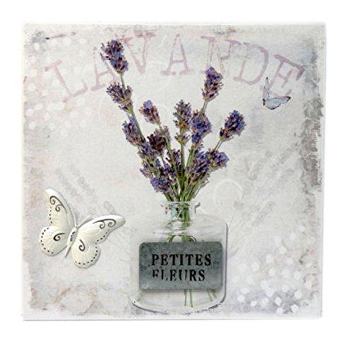 DKF Déco : Tableau sur Toile 40x40 Lavande Fleurs Décoration Papillon Provence Provençal Violet Blanc Mauve