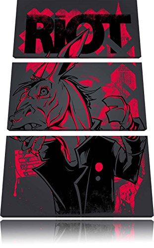 Riot black Bild 3-Teiler Leinwandbild 120x80 Bild auf Leinwand, XXL riesige Bilder fertig gerahmt mit Keilrahmen, Kunstdruck auf Wandbild mit Rahmen, gänstiger als Gemälde oder Ölbild, kein Poster oder Plakat (Rote Mäntel Und Rebellen)