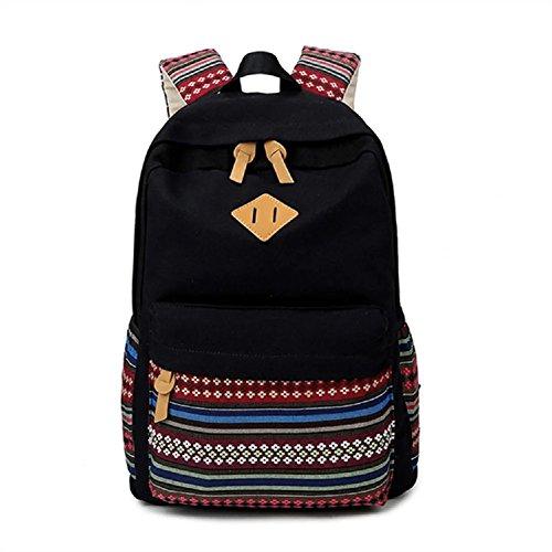 MAIBU Beiläufige Segeltuch -Schule-Rucksack-Laptop-Beutel-Schulter-Beutel-Rucksack-Reisen Daypack Weinlese -schwarz