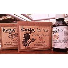 Bundle: Krya Ayurvedic Anti Dandruff Hair system ~ with the Krya anti dandruff herbal shampoo powder (100 gm), the Krya anti dandruff hair oil (100 ml) & Krya anti dandruff herbal hair mask (100 gm) ~ completely natural, Ayurvedic, toxic free solution for persistent dandruff