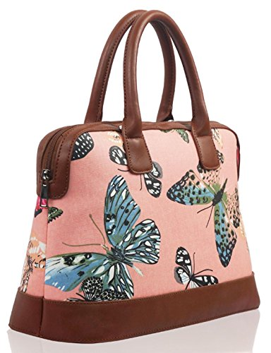 Kukubird Vari Cane Barboncino Bassotto Farfalla Uccello Gatto Tela Opaca Stampa Floreale Satchel Bowling Bag Con Sacchetto Di Polvere Di Kukubird Butterfly - Pink
