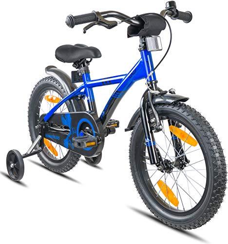"""Prometheus Bicicletta per Bambini e Bambine da 5 Anni nei Colori Blu e Nero da 16 Pollici con rotelle e contropedale - BMX da 16"""" Modello 2019"""