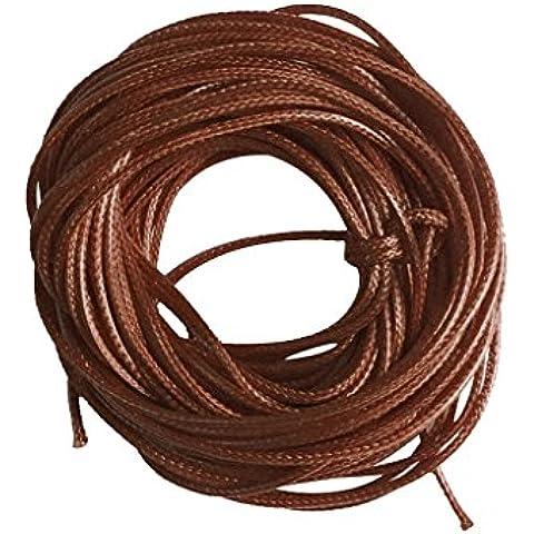 10m Cadena De Cordón De Algodón Encerado Hilo De Nylon En Forma Armadura Joyería 1.5mm - Marrón,