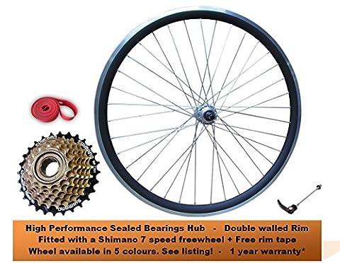 700c Road Racing Bike REAR Wheel Set Sealed Bearings Hubs +7 Speed Shimano Freewheel Bicycle Race Racer RED BLUE YELLOW GREEN Rim