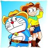 Custom Cotton Square Pillowcase For kids Japanese Anime Doraemon Decorative Sofa Pillow Case 45x45cm