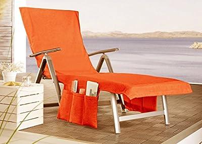 2 in 1 Liegenauflage Sunny umwandelbar in eine Badetasche + Seitentaschen + Kapuzenüberschlag ca. 70x200 cm Walkfrottee Farbe (Nectarine))