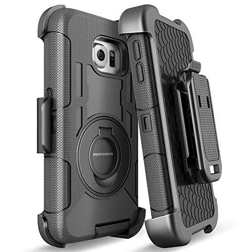 BENTOBEN Samsung S6 Edge Hülle, Galaxy S6 Edge Hülle, stoßfest Schutzhülle Hybrid PC Silikon Cover Schwenkhalterung Gürtel-Clip Outdoor Hülle für Samsung Galaxy S6 Edge Schwarz