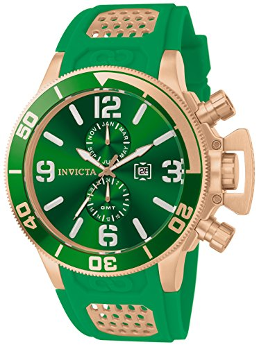 Invicta Men's Quartz Watch with Green Dial Chronograph Display and Green PU Strap 80310