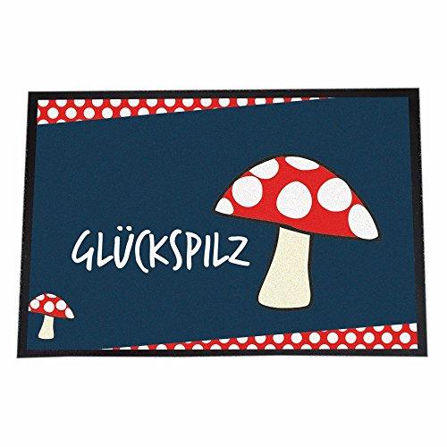 """Hochwertige Designer Fußmatte """"Glückspilz"""" in Premium Qualität + 60cm x 40cm + Rutschfest + Starke Saugfähigkeit + Waschmaschinenfest + NEU"""