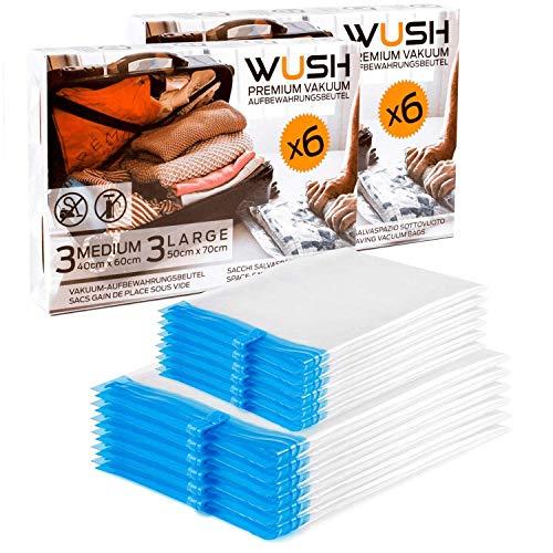 WUSH Premium Reise Vakuumbeutel [ 12er Set ] zum Rollen per Hand – 40x60cm und 50x70cm – Vakuum ohne Pumpe/Staubsauger - transparente Aufbewahrung von Kleidung für Koffer, Rucksack oder Schrank
