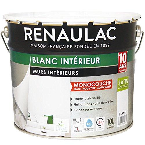Renaulac Peinture intérieur Murs & Plafonds Monocouche Acrylique Blanc Satin...