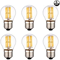 Aselihgt G456W, dimmerabile, attacco E27, 2700K Edison lampadine LED, Repalce lampadine a incandescenza da 60Watt, bianco caldo G45lampadine LED filamento ,6pezzi