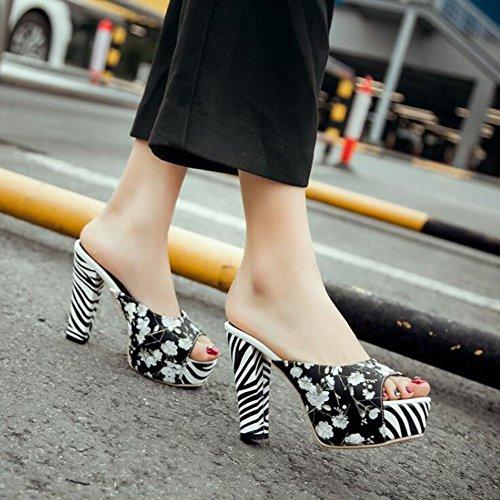 Donna Pepe Toe Pump Summer Elegante Mules Stampa Cool Sandali Zebra Stripes Tacco Alto impermeabile Piattaforma Scarpe Dimensioni 34-43 Black