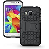 MACC Defender Series Dual Layer Hybrid TPU + PC Kickstand Case Cover for Samsung Galaxy Core Prime SM-G360 / G360H - Black