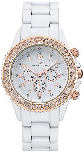Timothy Stone Women's AMBER-CERAMIC White and Rose Gold-Tone Watch