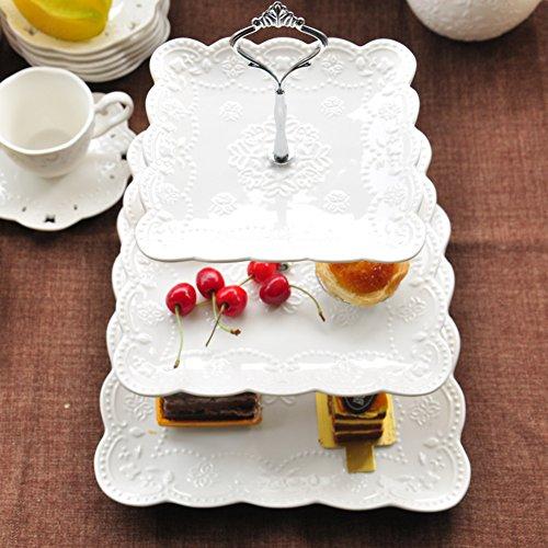 Europäische kreative Zweiklassen Obstteller Salon dreistufige Etagere Zucker-süß getrocknete Früchte am Nachmittag Tee Keramik Kuchenteller-A (Schnitzen Korb)