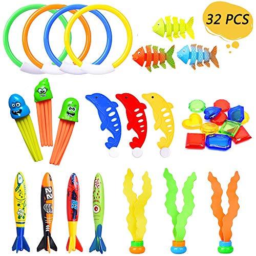 Viccess 32 Stück Tauchen Spielzeug Pool Spielzeug Kinder Tauchen Unterwasser Schwimmbad Spielzeug Set für Tauchanfänger Zum Badewanne Swimmingpools Geschenk für Kinder