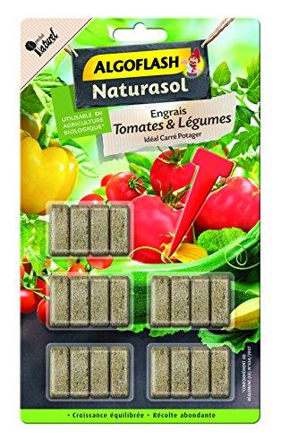 ALGOFLASH NATURASOL Bâtonnets Engrais Tomates et Légumes, Plantoir inclus, 20 bâtonnets, ABATBIO20