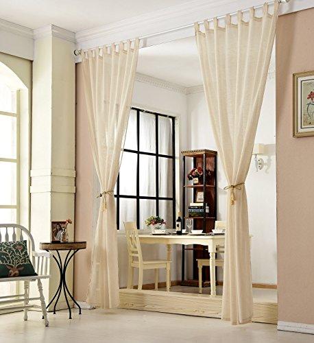 EUGAD 2er Set Gardinen Vorhang transparent Schlaufen Schal Leinen Landhaus Stores lichtdurchlässig Fensterschal Dekoschal Küche Wohnzimmer Kinderzimmer Schlafzimmer 140×175 cm Sand VH5858sd-2 - 4