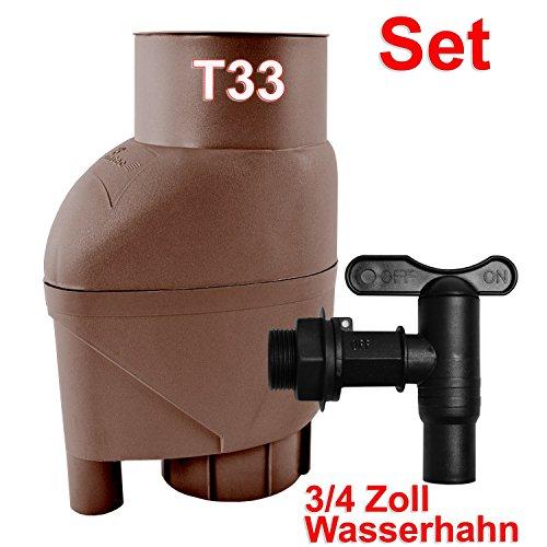 REGENSAMMLER REGENFASS REGENFILTER T33 REGENTONNE REGENFAß FÜLLAUTOMAT m. Laubabweiser braun, REGEN SAMMLER 0,2mm-REGENFILTER f. Regentonne, Regentank, Regenspeicher, bester Regenwassersammler, Universaleinbau 75-110mm-Fallrohre, SET m. WASSERHAHN, Fallrohrfilter ersetzt Regenklappe, IBC TANK