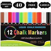 Kreidemarker, Blusmart 12 Stück farbig sortiert mit 40 Tafelaufkleber, Reversible Stiftspitze 6mm+3mm, für Kartenherstellung DIY Fotoalbum Gebrauch auf irgendeiner Oberfläche-Papier Gläser Kunststoff