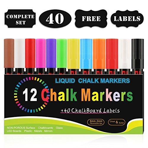 Marqueurs Craie, Blusmart 12 couleurs assorties avec 40 décoratif adhésif Stickers, Pointe Réversible 6mm+3mm, Feutres Liquides Surfaces Non Poreuses, Ardoise, Verre, Céramique