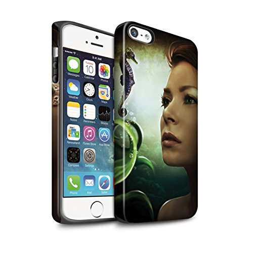 Officiel Elena Dudina Coque / Matte Robuste Antichoc Etui pour Apple iPhone SE / Poissons d'Or Design / Agua de Vida Collection Mer Profonde/Hippocampe