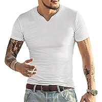 GYMAPE Manica Lunga/Corta da Uomo Beefy Maglietta vestibilità Slim Casuale Cotone Scollo a V.Magliette Intime di Base