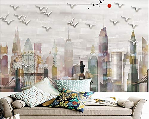 ZYLBDNB Kids Wall Murals, Abstract City Liberty Modern 3D Tapete, Living Room TV Wall Kitchen Kids Room Restaurant Bar Cafe 3D Mural,360X280CM