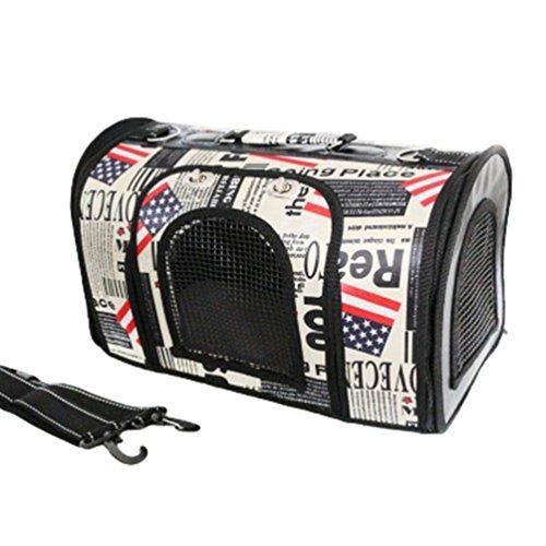 LvRao Handtasche für Haustiere, Hunder, Katzen Faltbar Atmungsaktiv Hundetragetasche Hundetransporttasche Reisetasche (Flagge, S: 41*23*25cm)