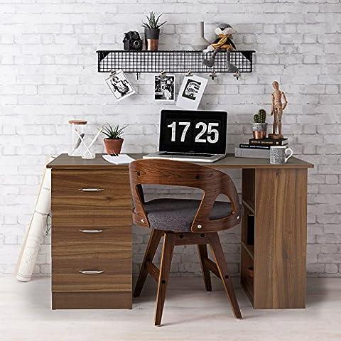 Laura James | Computer Desk |3 Drawers | 3 Shelves | Home Office Table | Workstation