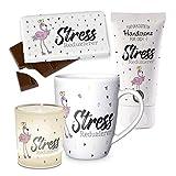 Preis am Stiel Geschenkset Stress Reduziert Flamingo Handcreme Windlicht Tasse Schokolade   Kaffeetasse   Tafelschokolade   Teelichthalter