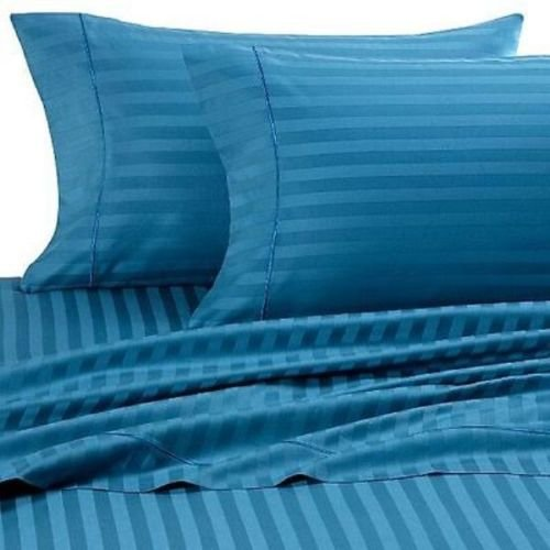 Comfort Beddings Bettwäsche-Set, 6er-Pack, 100% ägyptische Baumwolle, gestreift, 650 TC, türkis/blau, UK Super King - Super Pack Bettwäsche-set