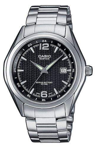 Casio Edifice Herrenarmbanduhr EF-121D-1AVEF, schwarz, massives Edelstahlgehäuse und Armband, 10 BAR