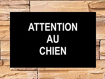 Attention au chien - plaque gravée noire 150 x 100 mm