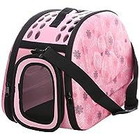 JEELINBORE Praktisch Schön Transporttasche Atmungsaktiv Transportbox Tragekorb für Katzen Hunde für Reisen (Rosa, M)