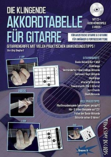 Die klingende Akkordtabelle für Gitarre (mit CD+ Audio/Video) - Gitarrengriffe lernen, sehen und hören - Grifftabelle: Diagramme + Fotos + Anwendungs-Beispiele - 80 Audio-Tracks + 16 Videos