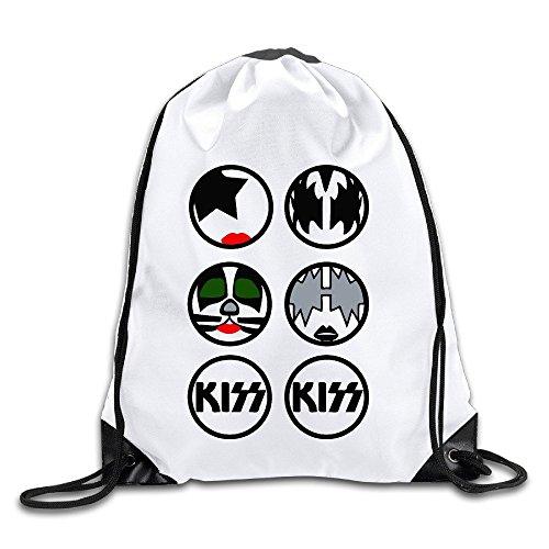DHNKW The Kiss Rock Band Templates Drawstring Backpack Sack Bag/Travel Bag (Kiss Halloween Band)