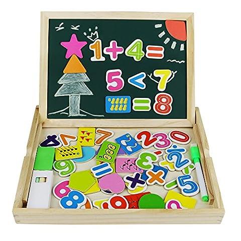 Magnetisches Holzpuzzles Puzzles Zeichnung Holzbrett Anzahl Lernen Spielzeug Lernspielzeug Staffelei Doodle Lernspiel Spiel für Kinder Jungs Mädchen 3 4 5 Jahren Alt
