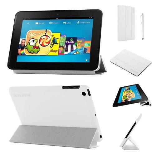 Stuff4®PU Leder Slim zusammenklappbar Multi Position Fall mit Tri Fold stehen für Kindle Fire HD 8,9, Weiß - Fall Hd Fire Kindle 9