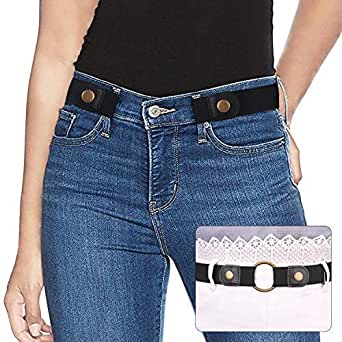 Ladies Elastic Belt Invisible No Buckle Belt for Women Men Black Adjustable Stretch Waist Belt Jeans Belt, No.1 Black, Suit Waist 22inch-34inch