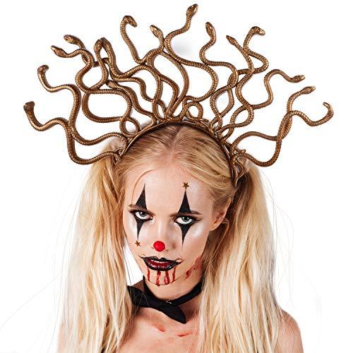 Medusa Kopfschmuck Kostüm - WILLBOND 3 Stücke Meduse Gold Stirnband Meduse Kostüm Stirnband Halloween Meduse Kostüm Kopf Schmuck für Halloween Verkleidung Party Zubehör