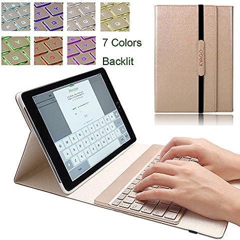 iPad Pro 9.7Funda, KVAGO funda 7colores de retroiluminación teclado desmontable QWERTY teclado inalámbrico Bluetooth para Apple iPad Pro 9.7pulgadas Tablet libre Regalos Protector de pantalla lápiz capacitivo iPad Pro 9.7 Keyboard Case - Gold